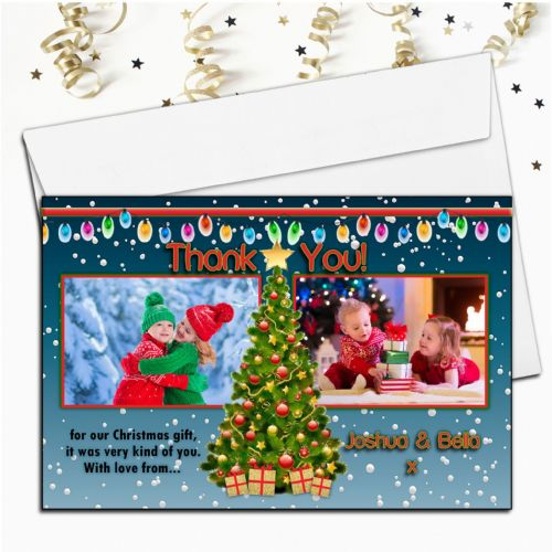 10 Personalised Christmas Xmas Tree Thank you PHOTO Cards N55